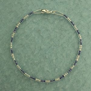 Blue and Clear Beaded Bracelet